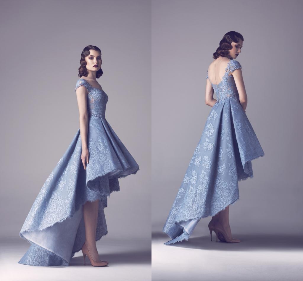 2015 Vintage Elegant See Through Back Light Blue Lace Front Short ...