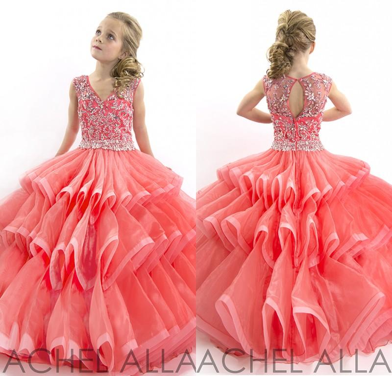 Stunning 2015 Cute Little Girls Pageant Dresses Ball Gown V Neck ...