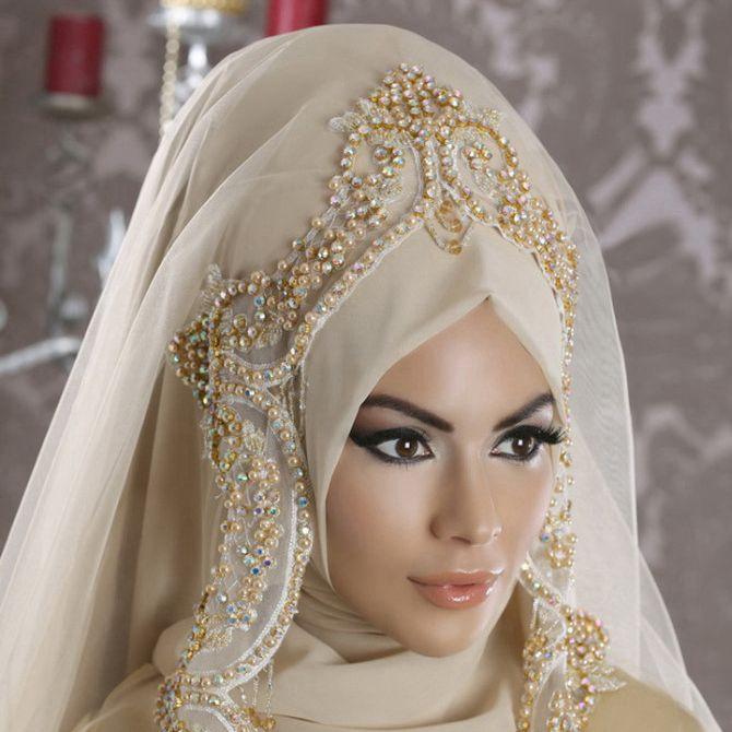 Champagne Beaded Muslim Bridal Veils Soft Tulle Hijad