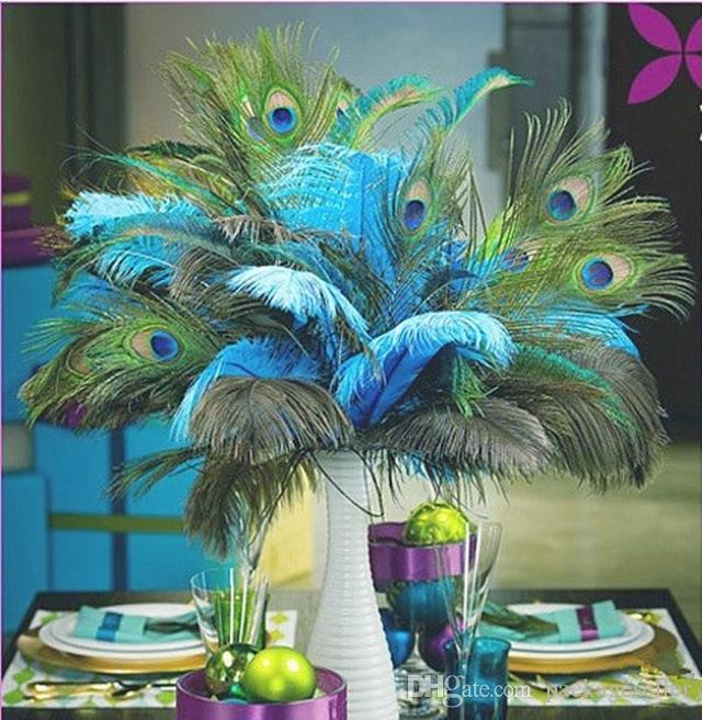 Genuine natural peacock feather elegant decorative accessories for wedding party stage - Peacock feather decorations home decor ...