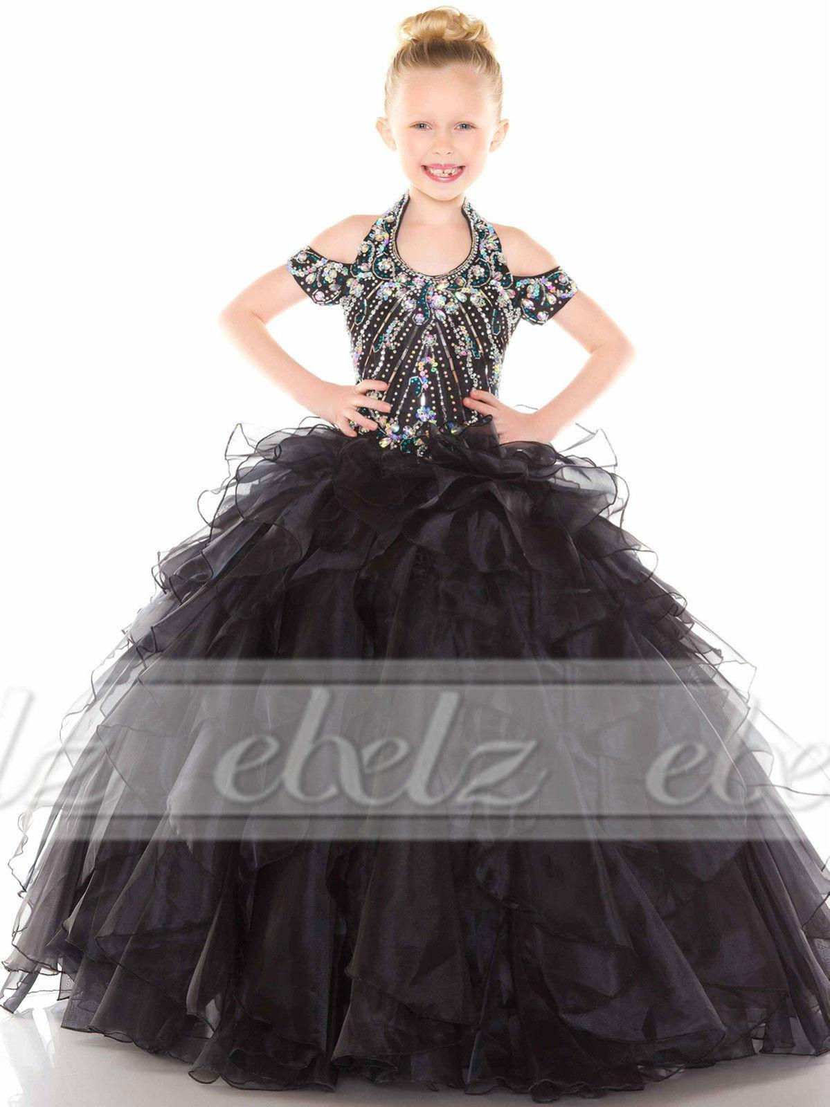 Wholesale 2015 New Black Flower Girls Kids Wedding Pageant Party