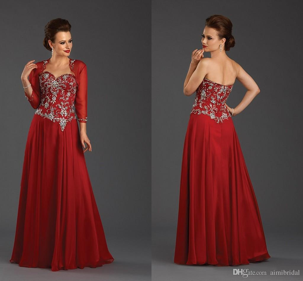 Hot Sale 2017 Red Mother Of The Bride Dresses With Long