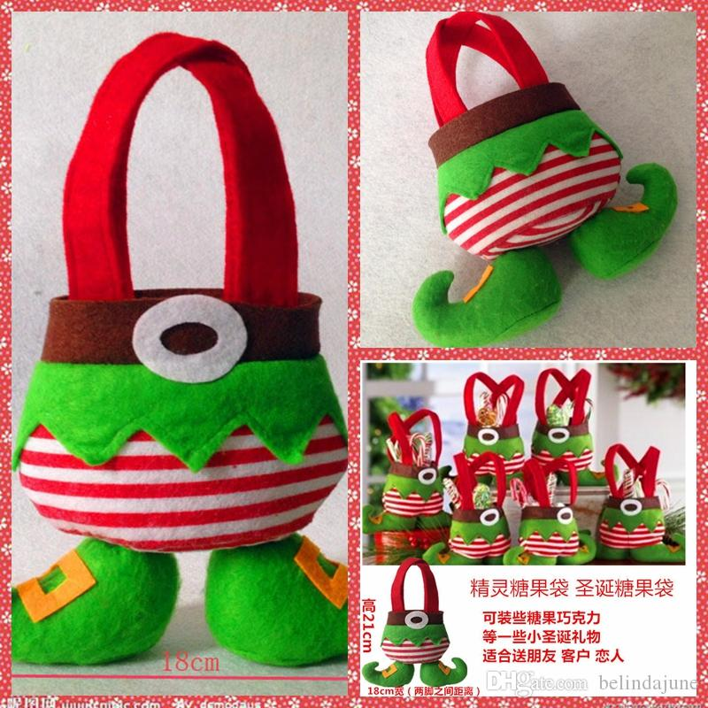 Elf And Santa Pants Merry Christmas Table Decoration Spirit Candy Sweet Bag Gift Bags Gift Wrap Party Decoration Top Sale Online Cheap Sale Candy Bag Sweet