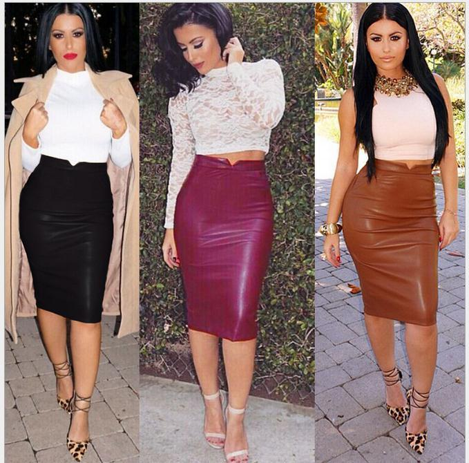 2017 Women Soft Pu Leather Skirt Fashion 2016 High Waist Slim Hip ...