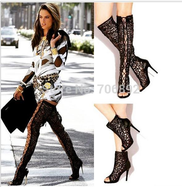 Open Toe Lace Up Gladiator Thigh High Boots High Heel Summer Boots ...