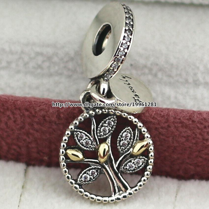 Wholesale pandora necklace letter charms 925 sterling silver 14k real gold family heritage dangle charm bead fit european pandora style jewelry aloadofball Images
