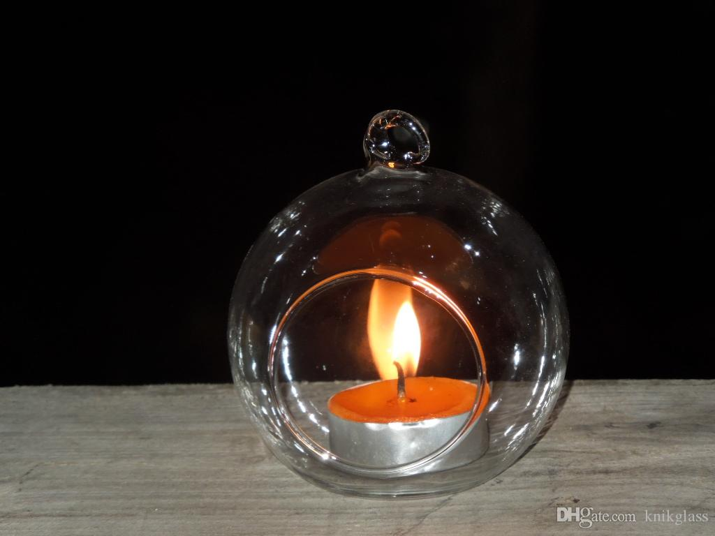 8cm Glass Candles Globe Planter Vase Hanging Tealight