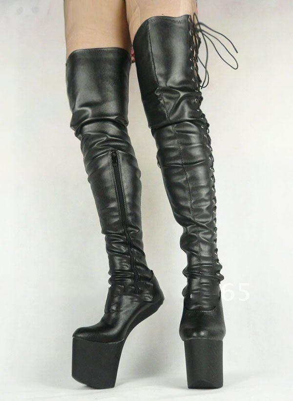 BDSM Heelless Pony Boots Women Fashion Pu Matt Leather Lace Up at