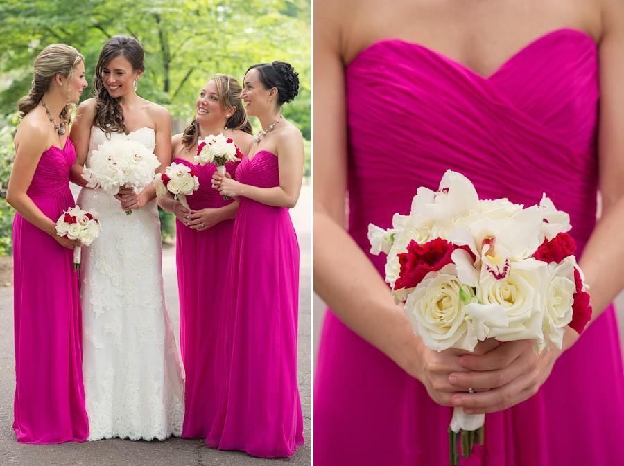 2015 chiffon bridesmaid dresses fuschia hot pink red maid for Fuschia pink dress for wedding