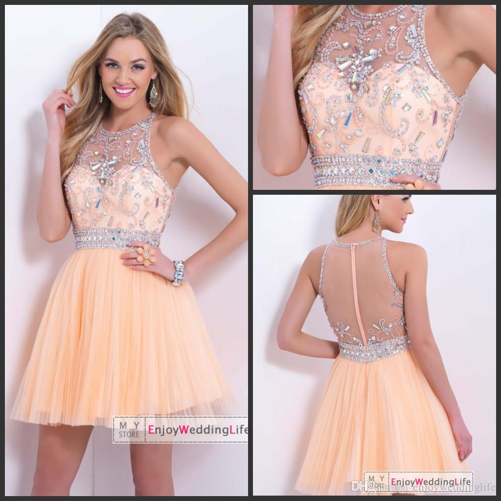 2016 Homecoming Dresses Peach Sleeveless Tulle Beads Crystal ...