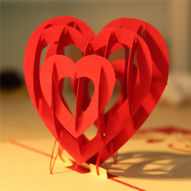 High Quality Paper Red 3d Heart Pop Up Cards Birthday Love – Love Birthday Cards