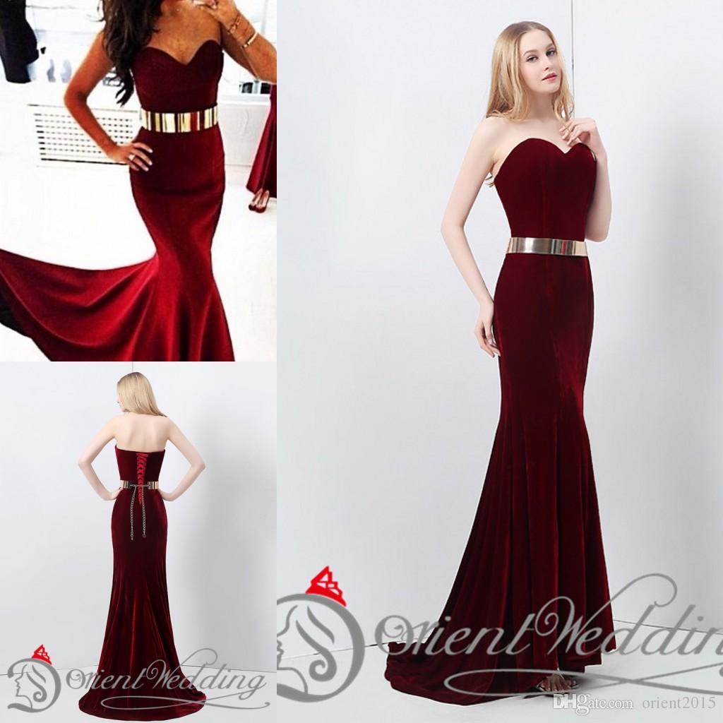 Instocks Sexy New Wine Dark Red Velvet Mermaid Prom Dresses Floor ...