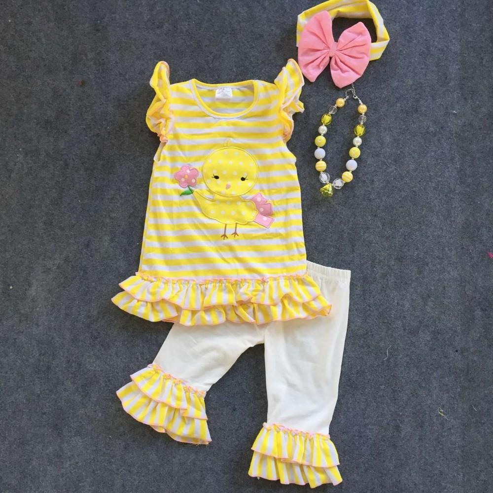 2016 New Baby Girl Easter Capri Pants Set Outfits Girls Chick ...