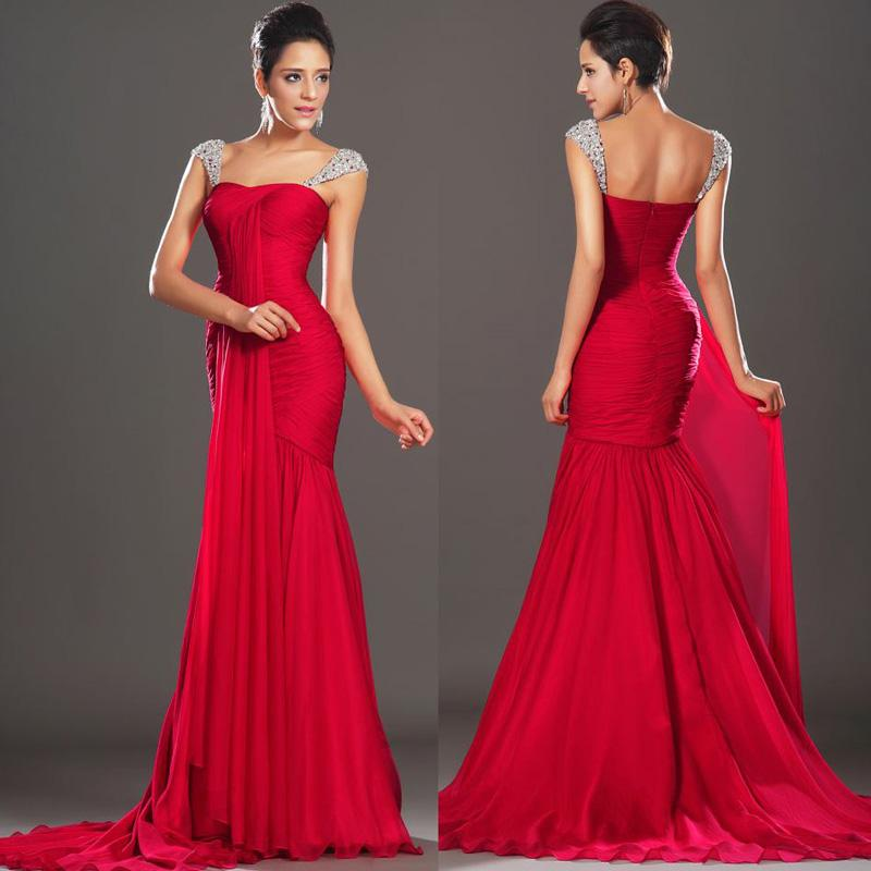 Amazing Red Chiffon Flowy Prom Dresses New Arrival Long Evening ...