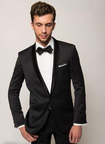 Black Wedding Suits For Men Tuxedos Shawl Lapel Mens Suits Slim ...
