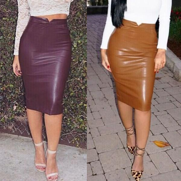 Sexy Faux Leather High Waist Casual Pencil Skirt Sexy Party Club ...