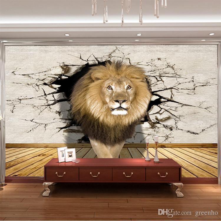 3D Lion Photo Wallpaper Animal World Wall Mural Modern Art Wallpaper Kid  Bedroom Livingroom Hallway Sofa TV Background Wall Gifts Home Decor Animal  ...