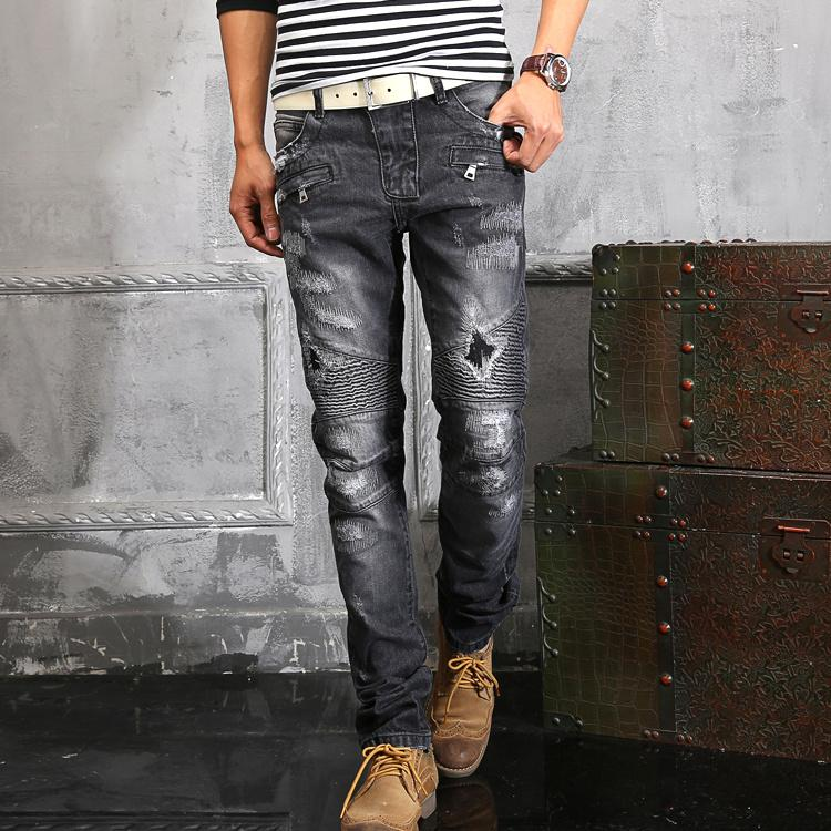 Balmain Biker Ripped Denim Jeans in Dark Gray Famous Brand NWT