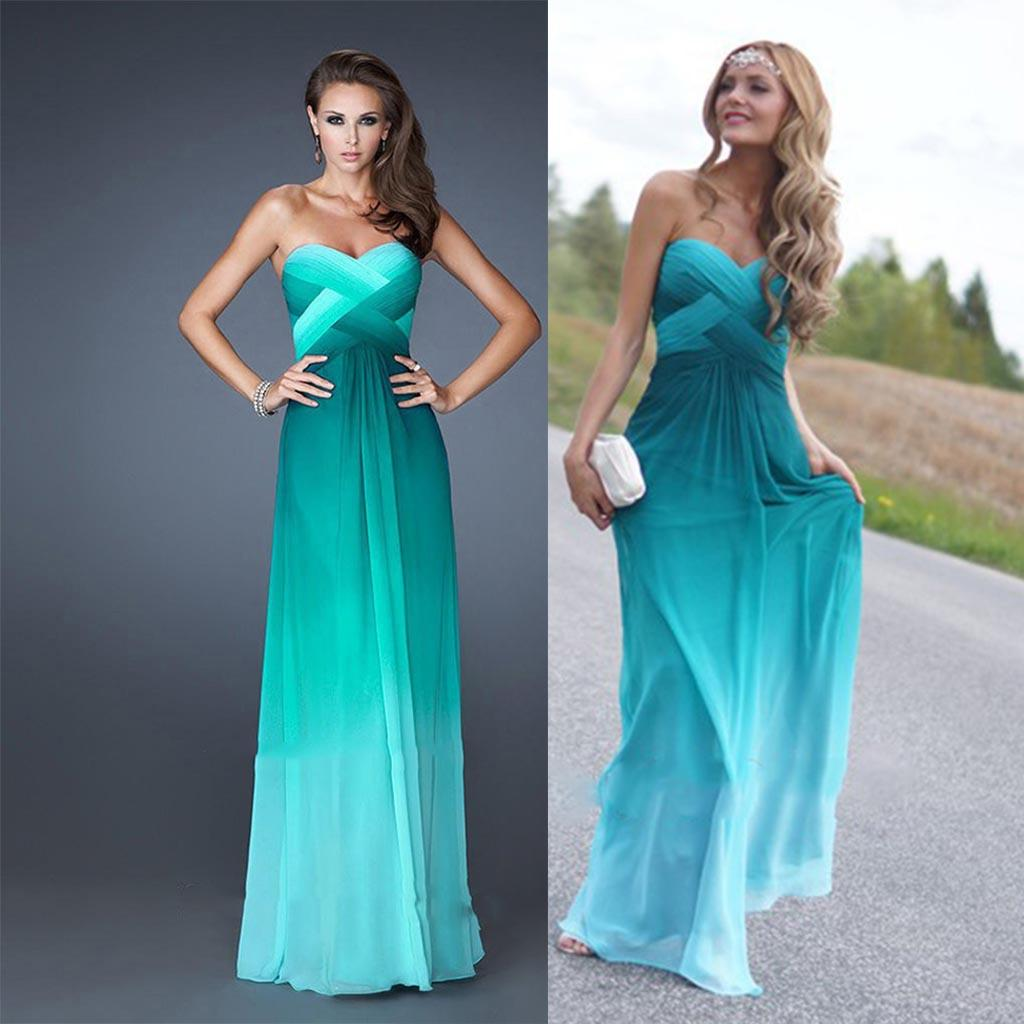 Multiple Color Two Tone Long Chiffon Bridesmaid Dresses 2015 Sexy ...