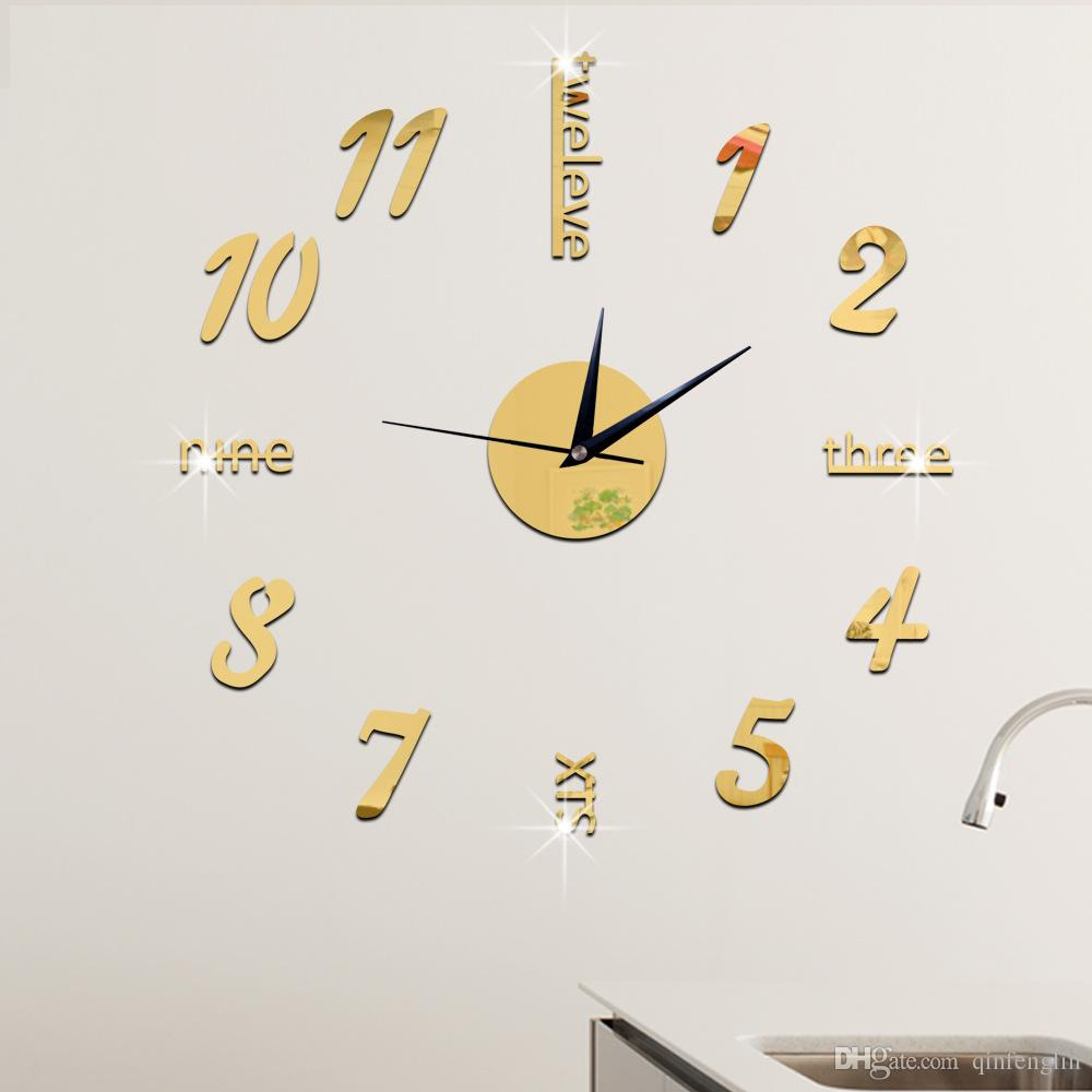 28 luxury wall stickers luxury wall clock 3d mirror office