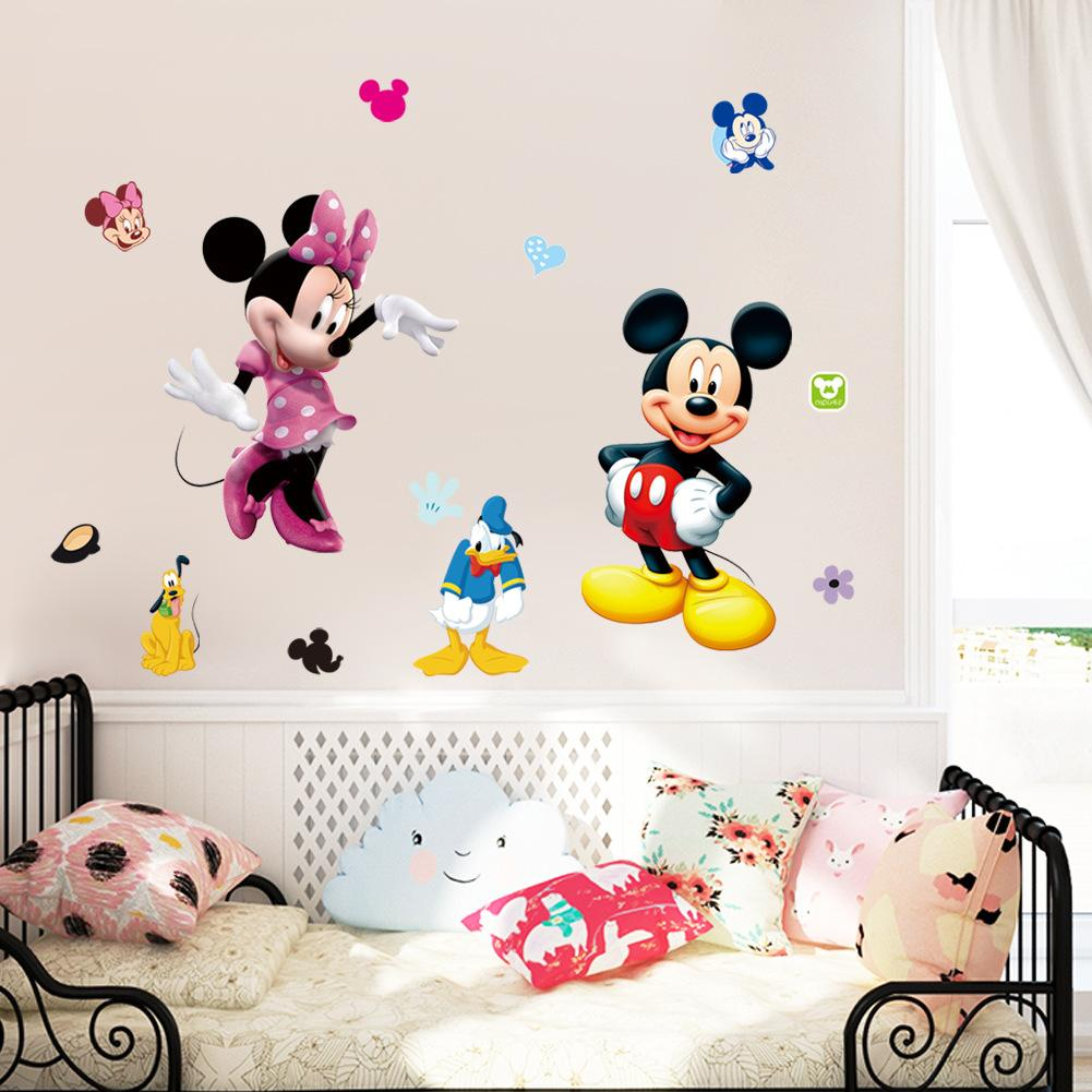 2016 New Baby Room Cartoon Wall Sticker Childrens Living Mickey Mouse Poster Kids Don Duck Decal Home Decoration