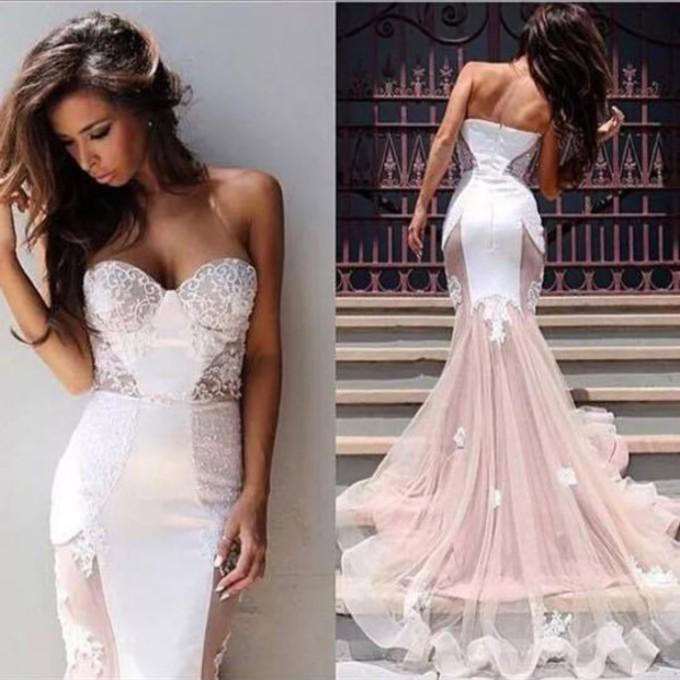 Sexy Blush Pink Wedding Dress Mermaid Strapless Sweetheart Tulle ...