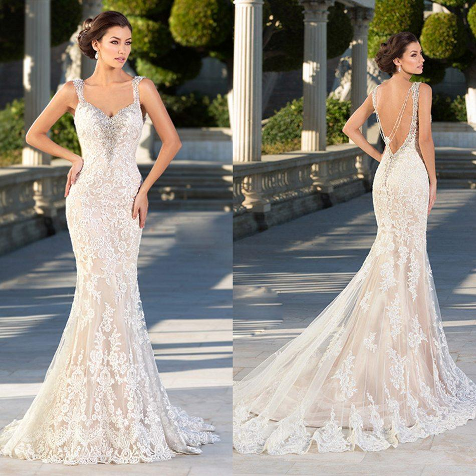 Low cut backless wedding dresses latest white lace ball gown low trendy mermaid crystal wedding dress lace applique dorsal beaded chain backless tulle chapel train covered button simple spaghetti bridal gown with low cut ombrellifo Images
