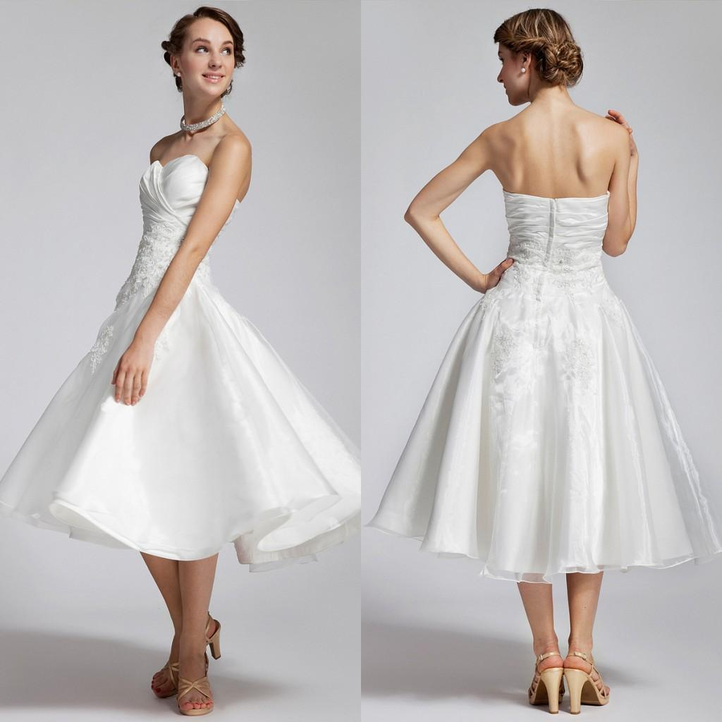 Short Bridal Gowns 2015 New Arrival Sweetheart Neckline A Line Tea ...
