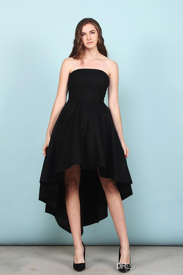 Black satin bridesmaid dress a line sweetheart black hi lo for Hi lo dress wedding guest