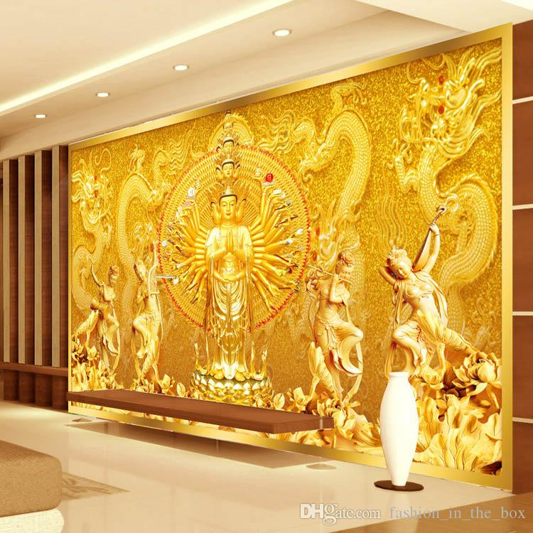 Gold buddha photo wallpaper custom 3d wall murals for Gold wallpaper for home