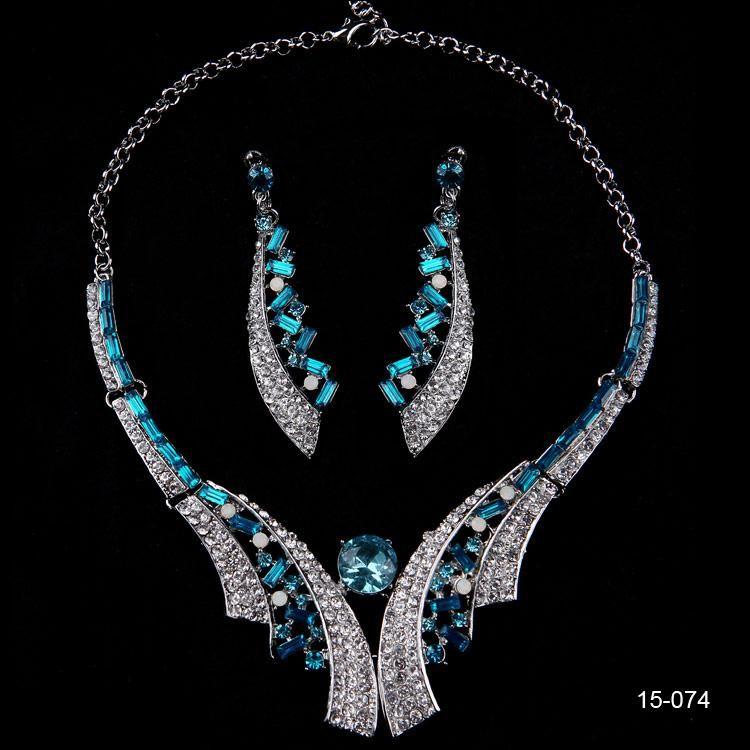 Blue Rhinestones Wedding Jewelry Prom Party Evening Accessories