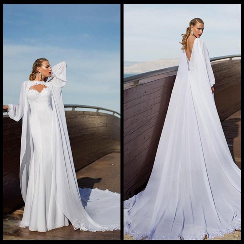 Discount 2015 aristocratic long cape wedding dresses saudi for Wedding dress with cape train
