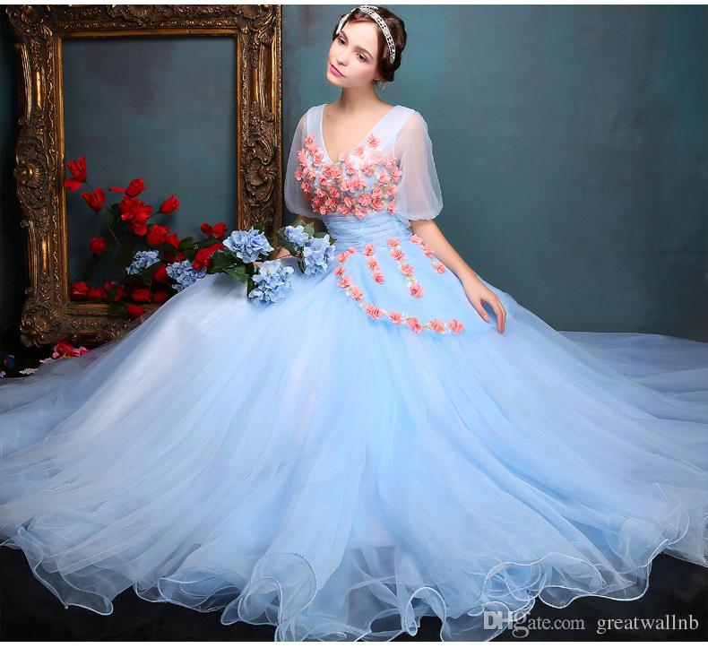 100%real Royal Light Blue Bubble Sleeve Ball Gown Medieval Dress ...