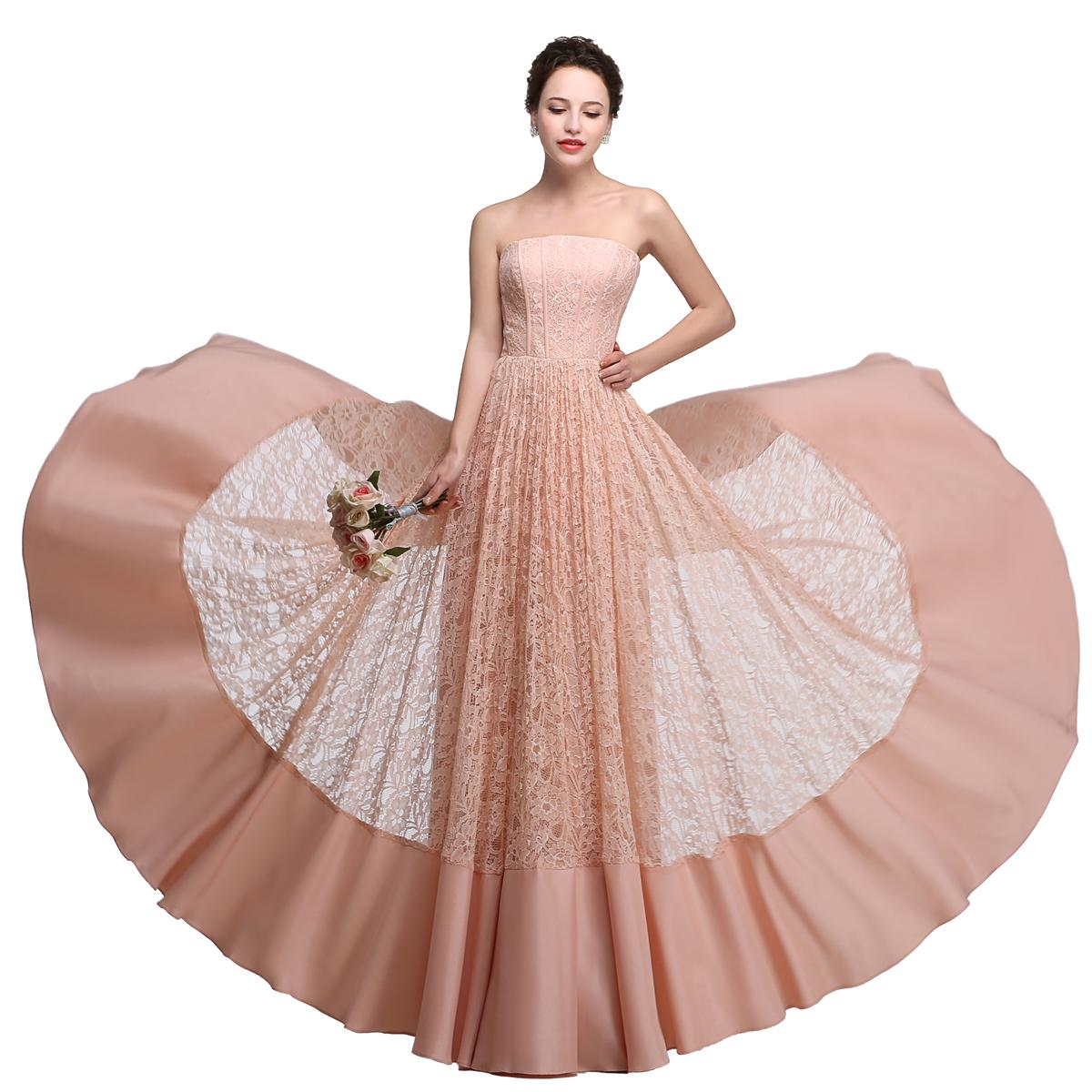 Lace Long Bridesmaid Dresses Cheap Strapless Pink Coral