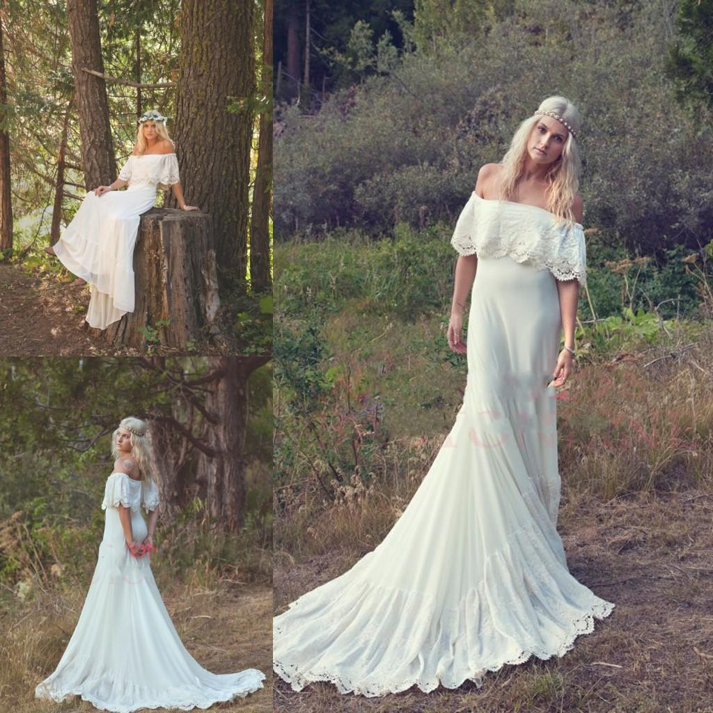 Off white chiffon beach wedding dress