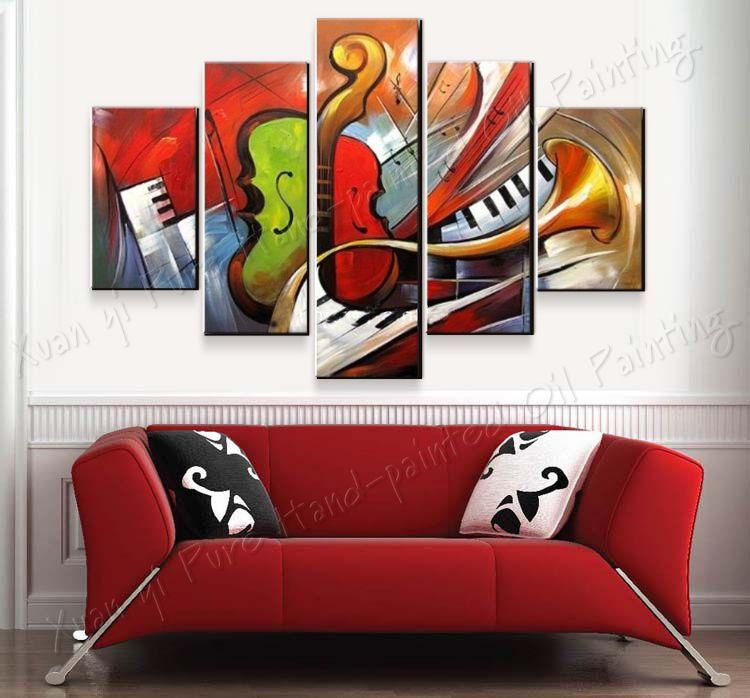 100% Hand Painted Abstract Music Paintings Wall Art 5 Panel Canvas