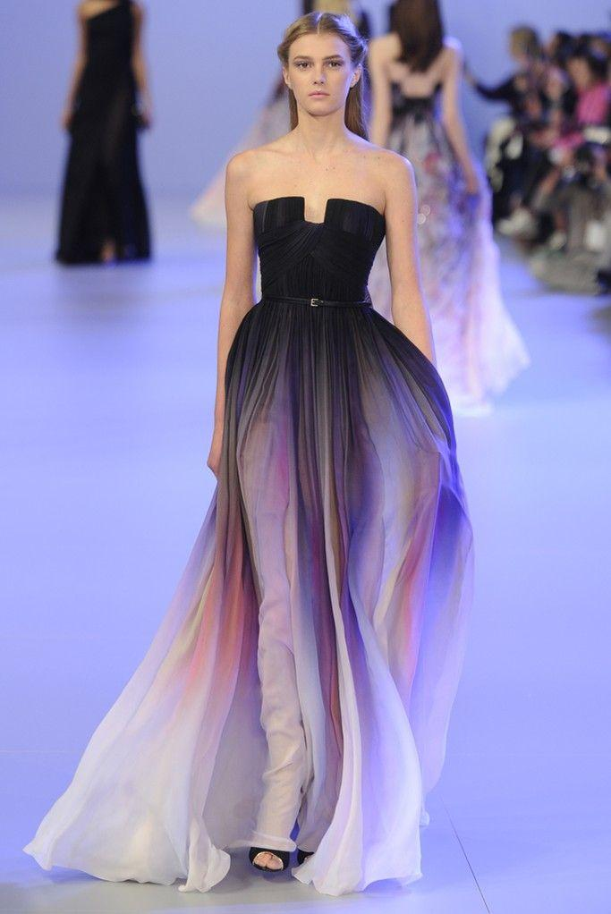 Elie Saab Ombre Strapless Prom Dresses 2015 Chiffon A Line ...