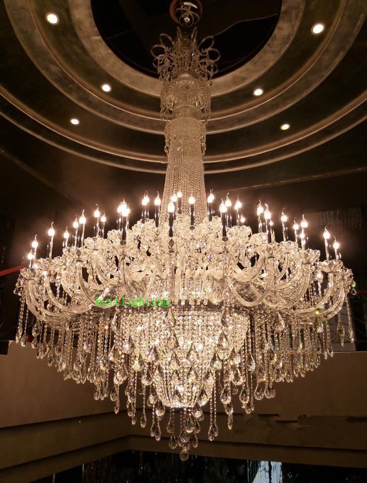 Hotel Foyer Chandelier : Large crystal chandelier chrome extra for