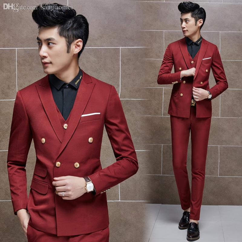 2017 Wholesale Wine Red Double Breasted Suit Jacket Male Korean ...