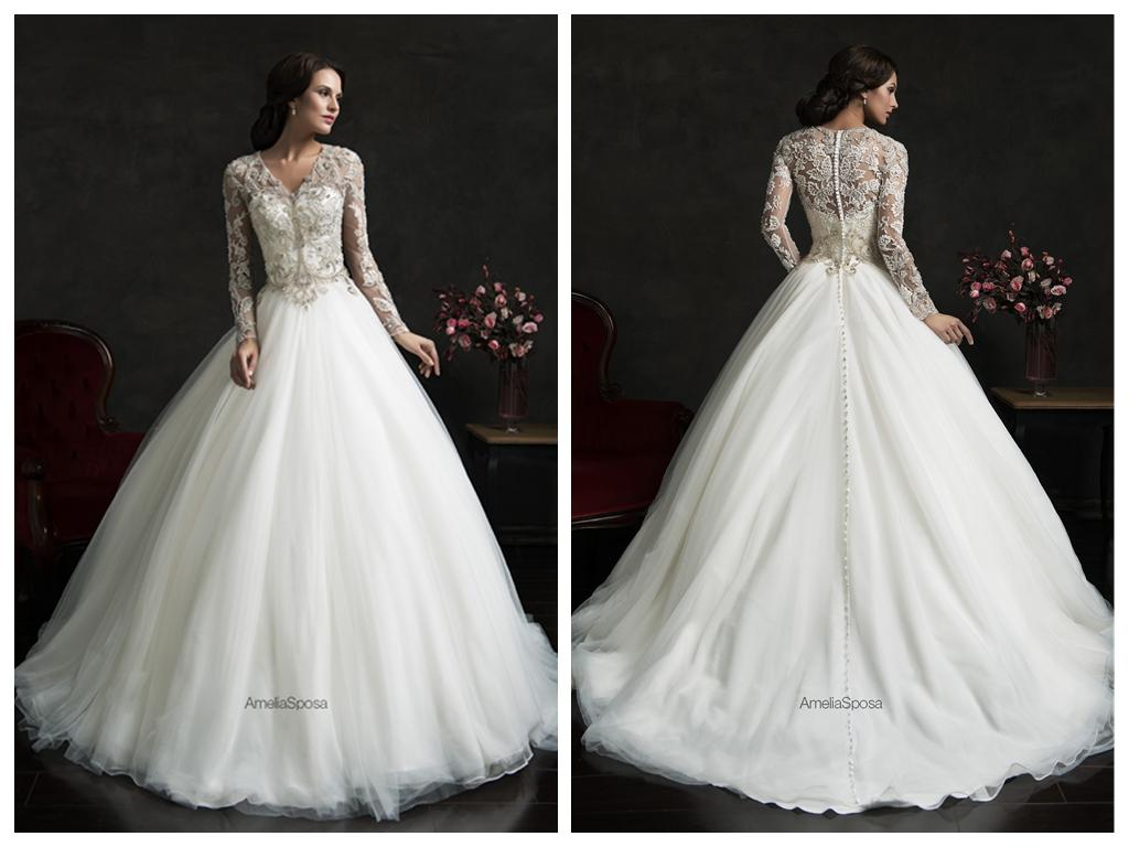 Amelia Sposa 2015 Tulle Ball Gown Wedding Dresses V Neck
