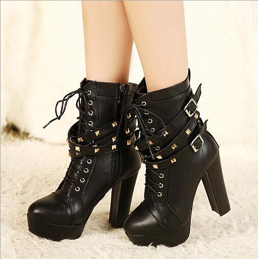 New Fashion Rivet Boots Women'S Boots Thick Bottom Short Boots ...