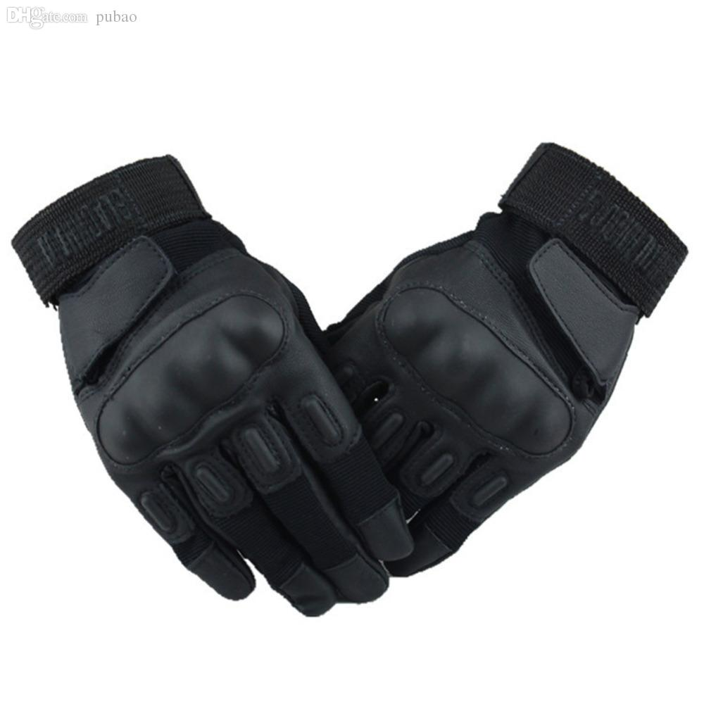 Black leather gloves on sale - Wholesale New Arrival Microfiber Hawk Shell Winter Leather Gloves With Whole Fingers Hot Sale Black Color Black Leather Riding Gloves Brown Leather Riding