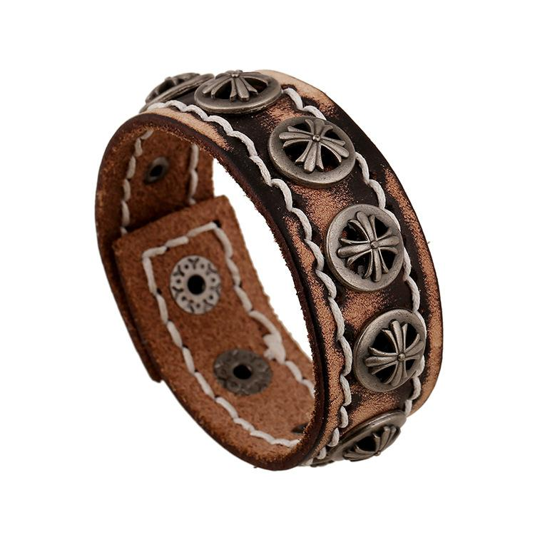 Mens leather bracelets retro rivet cross shield decorative for Rivets for leather jewelry