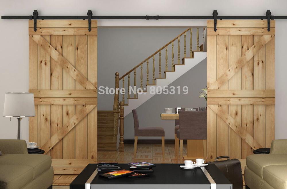 8 39 10ft sliding barn door track hardware double interior for 10 foot barn door track