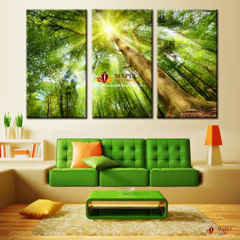 2017 hot sell wall decor painting of sunshine through for Decor 2 sell