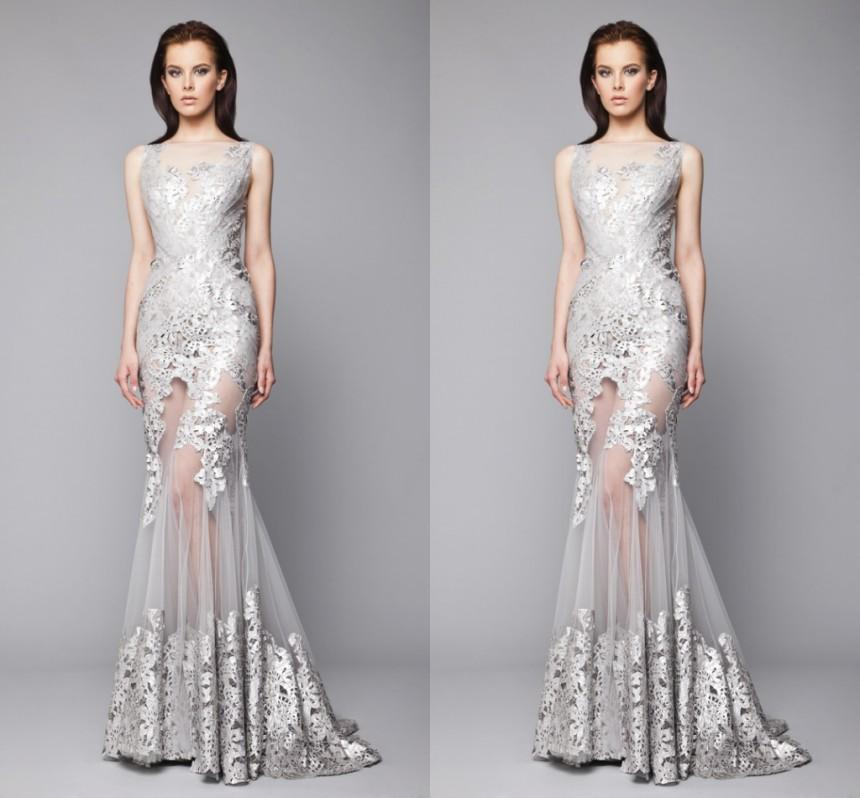 Tony Ward Evening Dress 2016 New Style Silver Mermaid Tulle Gown ...