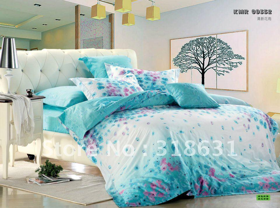Turquoise and yellow bedding