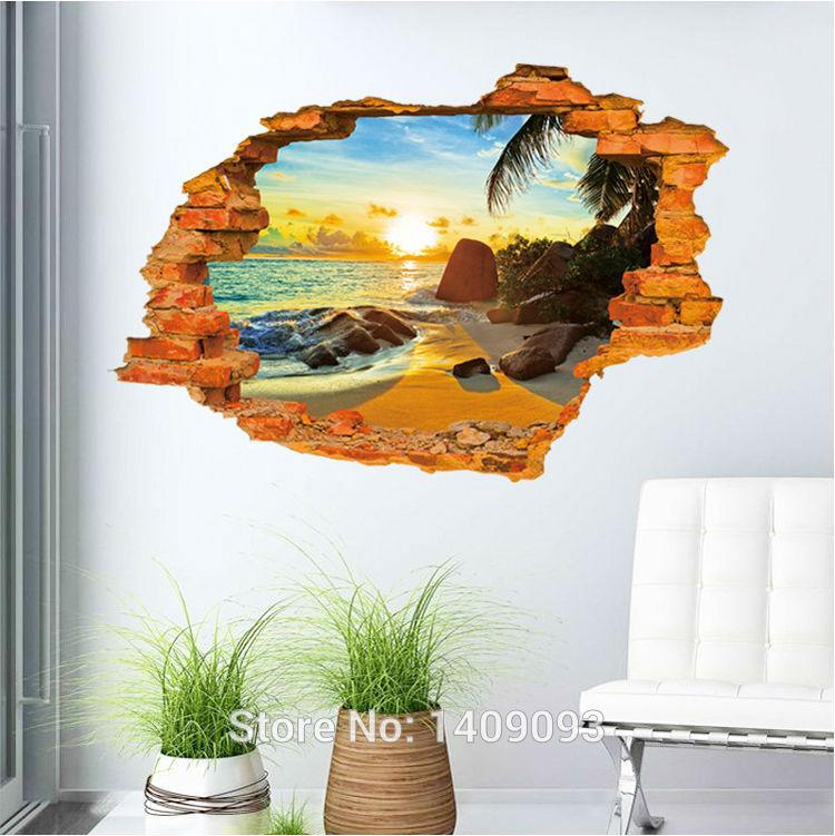 Vintage brick wall decals 3d sticker beach sea beautiful for Decoration 3d sol