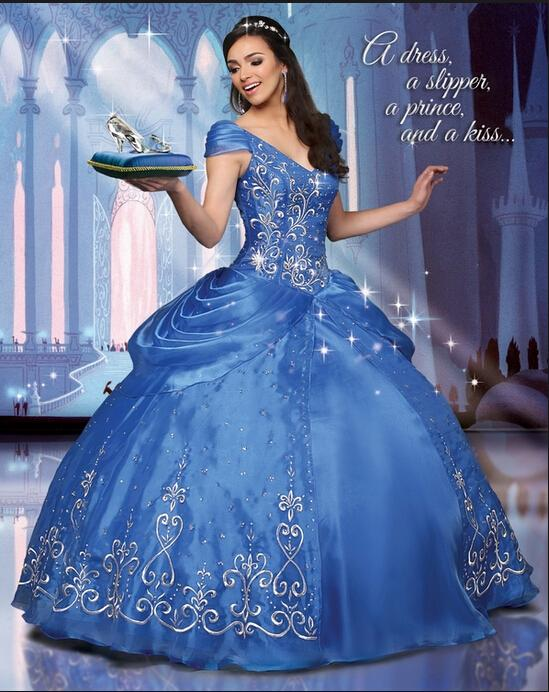 2015 ball gown cinderella prom dresses with embroidery cap