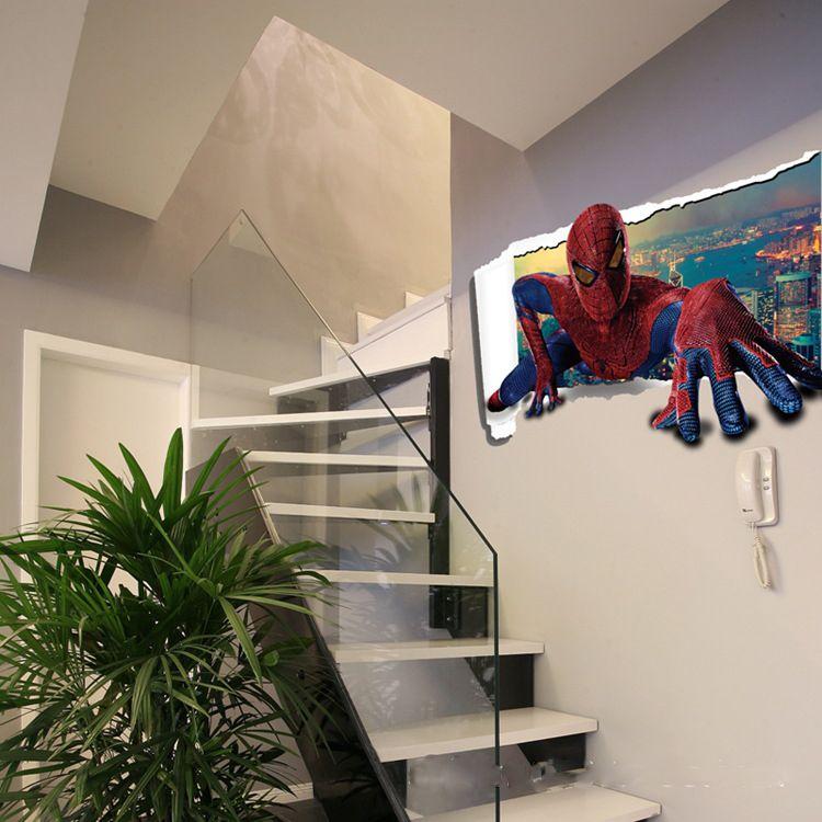 Spiderman Bedroom Wall Art Luxurious Bedroom Interior Design Ideas Bedroom Black And White Bedroom Design For Guys: Cartoon Sticker Spiderman 3d Wall Stickers Waterproof